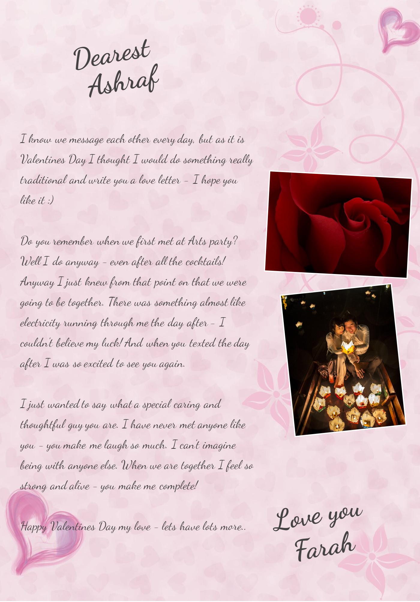 Valentines Love Letter Girl to Boyfriend